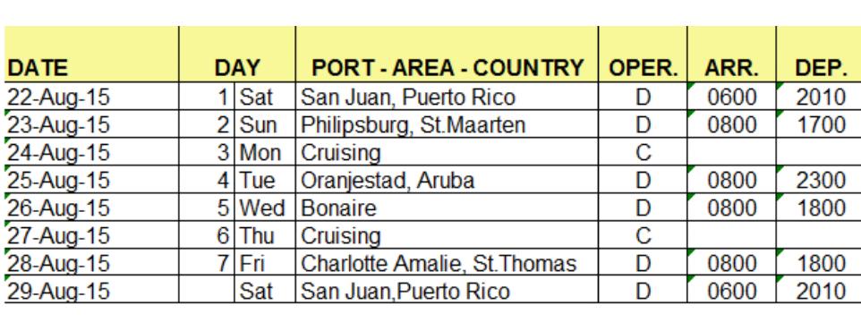 Nuevo itinerario de crucero