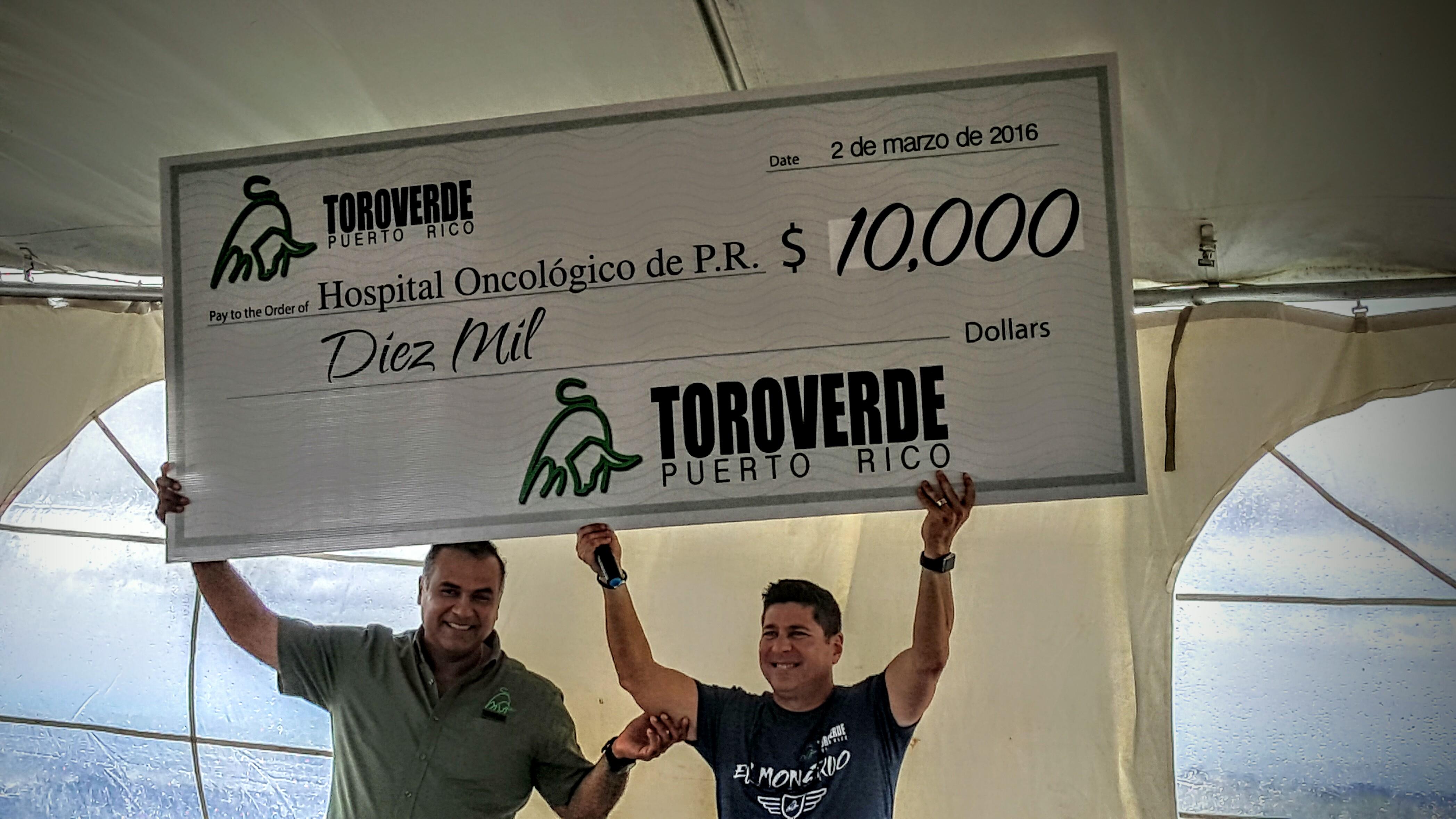 Toro Verde hace donación de $10,000